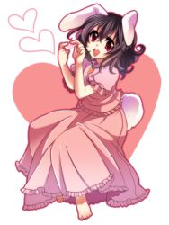 01jou 1girl animal_ears barefoot black_hair bunny_ears carrot feet female full_body hands heart heart_hands inaba_tewi onoe_junki open_mouth red_eyes short_hair solo tail touhou white_background