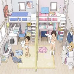 1boy 1girl bedroom black_hair brother_and_sister copyright_request kiyo_(kyokyo1220) loaded_interior loli room shota siblings rating:Questionable score:33 user:Loli_wiggler
