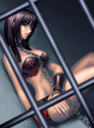 1girl armor bdsm bikini bondage bound brown_eyes brown_hair chains collar hibana kagami_hirotaka kunoichi_(game) leash ninja short_shorts shorts solo swimsuit rating:Safe score:53 user:danbooru