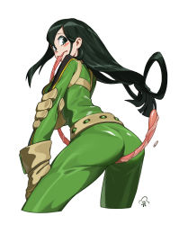 10s 1girl absurdres ass asui_tsuyu between_buttocks blush_stickers bodysuit boku_no_hero_academia chen_zhang from_behind gloves green_bodysuit green_eyes green_hair highres long_hair long_tongue looking_back low-tied_long_hair simple_background solo tongue very_long_hair very_long_tongue white_background rating:Safe score:16 user:danbooru
