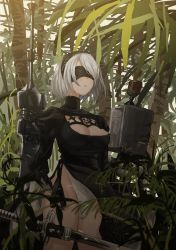 1girl absurdres areola_slip areolae black_dress black_gloves blindfold breasts ciero closed_mouth dress gauntlets gloves headband highres holding holding_weapon jungle large_breasts leotard long_sleeves machinery nature nier_(series) nier_automata outdoors plant see-through short_hair solo sword thighs weapon weapon_in_hand white_hair white_leotard yorha_no._2_type_b rating:Questionable score:5 user:danbooru