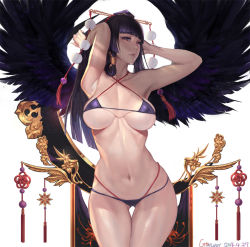 1girl arms_up bangs bikini black_hair black_wings blunt_bangs breasts curvy dated dead_or_alive dead_or_alive_5 erect_nipples gluteal_fold gtunver halter_top halterneck hat highleg_bikini highres hime_cut large_breasts long_hair lowleg lowleg_bikini nyotengu purple_bikini purple_eyes purple_hair revision sidelocks simple_background solo standing swimsuit swimsuit_under_swimsuit thigh_gap tokin_hat white_background wide_hips wings