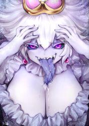 1girl black_sclera breasts cleavage crown dress ghost gloves hair_between_eyes hands_on_own_head highres large_breasts long_hair luigi's_mansion mario_(series) new_super_mario_bros._u_deluxe nintendo open_mouth pale_skin princess_king_boo purple_eyes saliva sharp_teeth solo souryu super_crown teeth tongue tongue_out white_dress white_hair rating:Safe score:27 user:danbooru