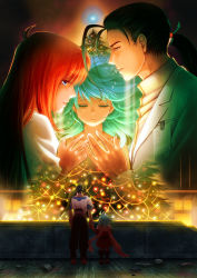 1boy 2girls christmas_tree couple elhaym_van_houten emerada_(xenogears) father_and_daughter fei_fong_wong maronee_san mother_and_daughter multiple_girls spoilers tree xenogears