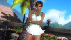 apron beach bracelet breasts dark_skin dead_or_alive dead_or_alive_5 earrings large_breasts lisa_hamilton official_art short_hair
