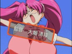00s 1girl animated animated_gif blush bounce bouncing_breasts breasts eiken glasses harumachi_komoe huge_breasts impossible_clothes impossible_shirt large_breasts lowres shirt solo translation_request rating:Questionable score:40 user:danbooru