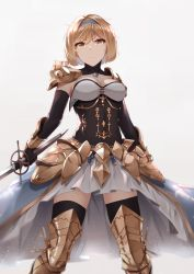 >:( 1girl absurdres armor armored_boots arms_at_sides black_gloves blue_hairband boots breasts brown_eyes brown_hair cleavage closed_mouth commentary covered_navel detached_collar djeeta_(granblue_fantasy) elbow_gloves english_commentary faulds feet_out_of_frame gloves granblue_fantasy grey_background hairband highres holding holding_sword holding_weapon legs_apart looking_at_viewer medium_breasts mengo pauldrons serious short_hair shoulder_armor simple_background skirt solo standing strapless sword thighhighs thighhighs_under_boots vambraces weapon white_skirt zettai_ryouiki