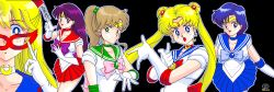 1992 5girls 90s aino_minako bishoujo_senshi_sailor_moon blonde_hair blue_bow blue_eyes blue_hair blue_skirt bow breasts brooch brown_hair choker cleavage crescent_moon dated dithering double_bun earrings elbow_gloves fighting_stance gloves green_eyes hair_ornament hino_rei inner_senshi jewelry kino_makoto long_hair magical_girl mask mizuno_ami moon multiple_girls ofuda open_mouth pink_bow pixel_art purple_eyes purple_hair red_bow red_skirt sailor_collar sailor_jupiter sailor_mars sailor_mercury sailor_moon sailor_senshi sailor_venus short_hair skirt smile tiara tsukino_usagi twintails white_gloves