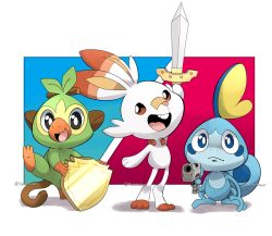 :d black_eyes blue_eyes brown_eyes bunny commentary creature creatures_(company) english_commentary full_body game_freak gen_8_pokemon grookey gun holding holding_gun holding_shield holding_sword holding_weapon kanokawa nintendo no_humans open_mouth pokemon pokemon_(creature) pun scorbunny shadow shield signature smile sobble standing sword weapon when_you_see_it