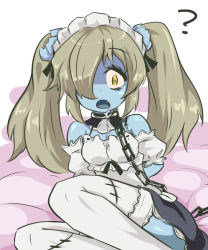 1girl ? apron bare_shoulders blonde_hair blue_skin chains disgaea fang hair_over_one_eye kururunpa maid maid_(disgaea) maid_apron makai_senki_disgaea_5 pointy_ears saliva thighhighs twintails yellow_eyes zombie rating:Questionable score:25 user:twilight_jester