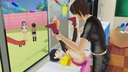 1boy 3d age_difference ahoge anal animated animated_gif black_hair black_legwear blue_eyes boots clothed_sex legs_up loli lying multiple_girls naruto naruto_(series) on_back penis ponchi short_hair tagme thighhighs uncensored uzumaki_himawari window rating:Explicit score:33 user:loliadicktion