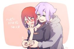 2girls artist_request blush couple croix_meridies embarrassed green_eyes hair_ornament jewelry little_witch_academia multicolored_hair multiple_girls open_mouth proposal purple_eyes red_eyes red_hair ring shiny_chariot simple_background surprised two-tone_hair ursula_charistes wedding_band wedding_ring yuri