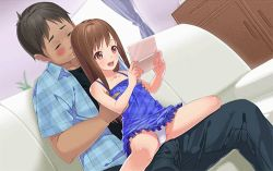 1boy 1girl age_difference akogare_no_ano_ko_no_musume_wa_boku_no_yome animated animated_gif blush brown_eyes brown_hair dorill dress flat_chest girl_on_top hetero loli long_hair lowres panties sitting sitting_on_lap sitting_on_person spread_legs tachibana_yui_(akogare) tagme underwear upskirt rating:Questionable score:14 user:pussy_fiend