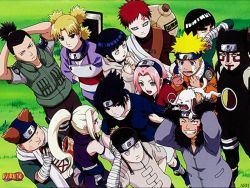 10boys 4girls 6+boys akimichi_chouji bandage black_eyes black_hair blonde_hair blue_eyes blue_hair brown_eyes eyebrows eyes_closed flak_jacket forehead forehead_protector gaara grass green_eyes hair_ties haruno_sakura hyuuga_hinata hyuuga_neji inuzuka_kiba kanji kankuro konohagakure_symbol multiple_boys multiple_girls nara_shikamaru naruto pink_hair ponytail red_hair rock_lee short_hair spiked_hair sunagakure_symbol tears teeth temari uchiha_sasuke uzumaki_naruto whisker_markings yamanaka_ino