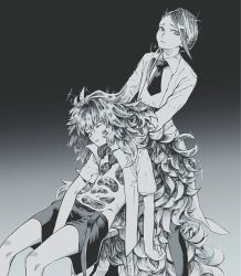 2others chair crystal_hair gloves gradient gradient_background greyscale hands_on_another's_shoulders highres houseki_no_kuni labcoat long_hair looking_at_viewer maki_keigo monochrome multiple_others necktie padparadscha_(houseki_no_kuni) parted_lips rutile_(houseki_no_kuni) short_hair shorts sleeping suspender_shorts suspenders very_long_hair