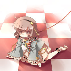 1girl anju_(meipurusanchi) anju_(pixiv) bad_id blush_stickers checkered checkered_floor collar female floor footwear hairband heart highres komeiji_satori leash perspective pink_eyes pink_hair socks solo tears touhou rating:Safe score:0 user:danbooru