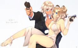 007 23_(real_xxiii) 2girls ahoge ahoge_girl_(23) aiming_at_viewer asymmetrical_docking bare_legs bare_shoulders blonde_hair blue_eyes breast_press breasts cleavage couple dark-skinned_girl_(23) dark_skin earrings erect_nipples finger_on_trigger formal gloves good_end gun handgun high_heels highres james_bond_(series) jewelry large_breasts legs lips long_hair looking_at_viewer multiple_girls navel open_mouth original sandals shoes short_hair silver_hair simple_background skyfall smile suit translated trigger_discipline walther weapon white_background white_gloves wife_and_wife yuri