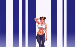 13_(kaiten_sommelier) 1girl :o bracelet breasts brown_hair camisole capcom chun-li denim double_bun earrings erect_nipples female fingernails hand_on_head highres jeans jewelry large_breasts long_fingernails midriff nail_polish pants photoshop solo stomach street_fighter wallpaper