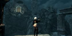 1girl 2 ass highres huge_ass katana nier:_automata skyrim sword thong weapon yorha_no