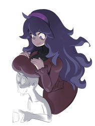 1boy 1girl breast_rest breasts breasts_on_head creatures_(company) game_freak hairband hex_maniac_(pokemon) highres large_breasts long_hair nintendo pokemon pokemon_(game) pokemon_xy polyle purple_eyes purple_hair smile rating:Safe score:11 user:twilight_jester