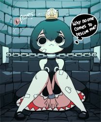 1girl animated animated_gif artist_name bandage bandaged_leg bandages black_dress black_hair black_panties blush bob_cut bouncing bouncing_breasts bound breasts cameltoe chain_chomp chains covering crown diives dress dungeon embarrassed english_text eyebrows_visible_through_hair fangs light_blush looking_at_viewer mario_(series) mini_crown new_super_mario_bros._u_deluxe nintendo open_mouth pale_skin panties princess_chain_chomp sharp_teeth sitting sleeveless solo super_crown super_mario_bros. teeth thought_bubble underwear rating:Safe score:47 user:danbooru