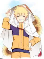 1boy blonde_hair cape eyes_closed flower grin hand_on_hip hat male_focus naruto nipye smile solo sunflower twitter_username uzumaki_naruto rating:Safe score:2 user:danbooru