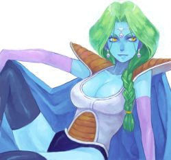 1girl acha armor blue_skin breasts cleavage dragon_ball dragonball_z drawr earrings elbow_gloves genderswap genderswap_(mtf) gloves green_hair jewelry lips medium_breasts ponytail sitting solo thighhighs yellow_eyes zarbon rating:Safe score:52 user:danbooru