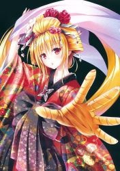 10s 1girl absurdres arm_up blonde_hair eyeshadow floral_print flower glint hair_flower hair_ornament hair_stick hair_up head_tilt heart highres huge_filesize japanese_clothes kimono konjiki_no_yami lipstick long_hair makeup obi parted_lips prehensile_hair red_eyes red_rose rose sash shawl solo to_love-ru to_love-ru_darkness very_long_hair yabuki_kentarou rating:Safe score:2 user:danbooru