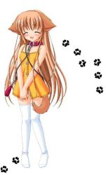 1girl animal_ears blush collar dog_ears dog_tail dress eyes_closed hands_clasped leash light_brown_hair long_hair nanami_to_konomi_no_oshiete_abc nishimura_nanami panties sin-go smile solo source_request tail thighhighs underwear white_legwear white_panties zettai_ryouiki rating:Safe score:4 user:danbooru