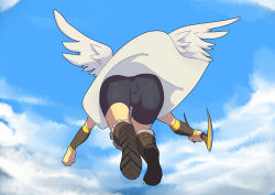 1boy angel ass bike_shorts boots bow_(weapon) bulge cloud flying from_behind from_below kid_icarus lvlv male_focus nintendo pit_(kid_icarus) sky solo weapon wings rating:Questionable score:24 user:armorcrystal