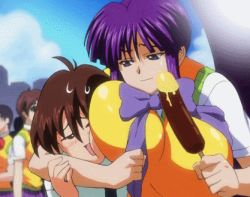 1boy 1girl animated animated_gif breast_press breasts brown_hair eiken huge_breasts lowres mifune_densuke misono_kirika purple_hair rating:Questionable score:21 user:redblue99