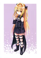 10s 1girl absurdres bare_shoulders blonde_hair boots brown_eyes detached_sleeves dress food hair_intakes high_heels highres holding konjiki_no_yami long_hair looking_at_viewer red_eyes scan solo taiyaki thigh_strap to_love-ru to_love-ru_darkness to_love_ru_darkness very_long_hair wagashi yabuki_kentarou rating:Safe score:5 user:danbooru