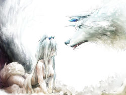 1girl animal_ears bare_arms bare_chest bare_shoulders blue_horns breasts fang flower fur hair_between_eyes hinoru_saikusa horns long_hair looking_at_another medium_breasts nude open_mouth original parted_lips simple_background sitting tail tongue tongue_out traditional_media very_long_hair watercolor_(medium) white_fur white_hair wolf wolf_ears wolf_girl wolf_tail rating:Questionable score:0 user:danbooru