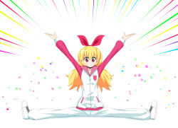 >:) 1girl aikatsu! arms_up blonde_hair blush closed_mouth emphasis_lines full_body hair_ribbon hoshimiya_ichigo long_hair long_sleeves looking_at_viewer outstretched_arms red_eyes red_ribbon ribbon rocha_(aloha_ro_cha) shoes solo split track_suit white_background white_shoes