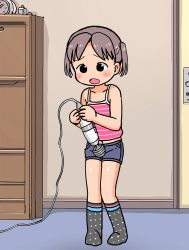 1girl animated animated_gif bare_arms bare_shoulders black_eyes black_hair collarbone denim denim_shorts female hitachi_magic_wand holding indoors loli masturbation midriff navel open_mouth original polka_dot polka_dot_legwear sex_toy shirt shorts sleeveless sleeveless_shirt solo standing striped striped_shirt twintails umekko vibrator rating:Explicit score:29 user:Domestic_Importer