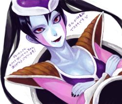 1girl acha armor black_hair breasts cleavage crossed_arms dragon_ball dragonball_z drawr fingernails frieza genderswap genderswap_(mtf) hat lipstick makeup medium_breasts red_eyes solo translation_request twintails rating:Safe score:32 user:danbooru