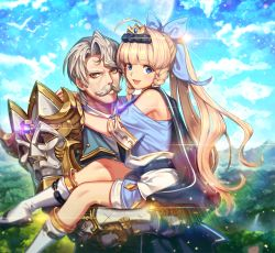 2boys :d ahoge aither_(epic_seven) armor bangs blonde_hair blue_bow blue_eyes blue_sky blunt_bangs bow braid brown_eyes carrying charles_(epic_seven) crown day epic_seven eyebrows_visible_through_hair facial_hair grey_hair hair_bow long_hair male_focus multiple_boys mustache open_mouth outdoors ponytail short_sleeves sky smile standing twin_braids very_long_hair white_footwear