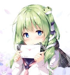 1girl alternate_costume bangs blue_eyes blue_flower blue_sailor_collar blush cardigan character_name commentary_request confession contemporary eyebrows_visible_through_hair flower frog_hair_ornament green_hair grey_scarf hair_ornament hair_tubes hands_up holding_letter jacket kochiya_sanae letter long_hair long_sleeves looking_at_viewer love_letter miyase_mahiro parted_lips petals plaid plaid_scarf purple_flower sailor_collar scarf school_uniform simple_background sleeves_past_wrists snake_hair_ornament solo touhou upper_body white_background white_jacket