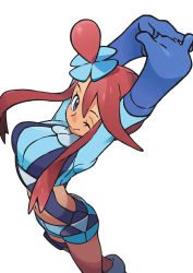 1girl ;) arms_up bangs blue_eyes blue_gloves blue_shirt blue_shorts breasts closed_mouth crop_top elbow_gloves feet_out_of_frame from_above fuuro_(pokemon) gloves gym_leader hair_between_eyes hair_bun hair_ornament hands_together holster large_breasts long_hair long_sleeves looking_at_viewer midriff mizutani_megumi navel official_art one_eye_closed pokemon pokemon_(game) pokemon_bw red_hair shirt short_hair_with_long_locks shorts sidelocks simple_background smile solo stomach stretch suspenders thigh_holster thigh_strap white_background rating:Safe score:7 user:danbooru
