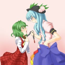 2girls aqua_hair ascot bdsm blush bondage bound chains collar female food fruit green_eyes green_hair hat hinanawi_tenshi kazami_yuuka leash long_hair multiple_girls peach plaid plaid_skirt plaid_vest ribbon role_reversal short_hair skirt skirt_set tears tongue toritora touhou youkai rating:Safe score:5 user:danbooru