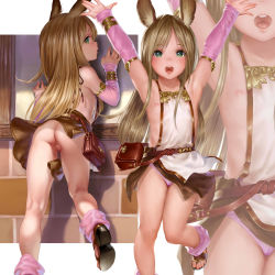1girl absurdres animal_ears armpits arms_up asakuraf ass back bag bangs bare_shoulders blonde_hair blush bracelet bunny_ears censored detached_sleeves erun_girl feet female flat_chest from_behind granblue_fantasy green_eyes highres jewelry loli long_hair looking_at_viewer looking_back mosaic_censoring multiple_views nipple_slip nipples no_panties npc open_mouth panties pantyshot pink_panties pussy revealing_clothes sandals skirt smile solo toes underwear zoom_layer rating:Explicit score:58 user:Domestic_Importer