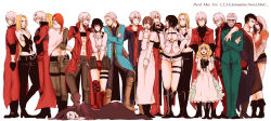 6+boys 6+girls bandage bandaged_head bandages bell belt belt_buckle black_hair blonde_hair blue_coat blush boots braid brown_hair buckle coat collar covering_mouth crossed_arms crying dante_(devil_may_cry) devil_may_cry devil_may_cry_2 devil_may_cry_3 devil_may_cry_4 dmc:_devil_may_cry dress fingerless_gloves formal gilver gloves hand_over_own_mouth highres jester_(dmc3) jewelry kat_(dmc:_devil_may_cry) kyrie long_hair lucia_(devil_may_cry) medium_hair multiple_boys multiple_girls necklace nero_(devil_may_cry) open_mouth orange_hair patty_lowell red_coat scar short_hair short_shorts shorts simple_background smile standing stepped_on stepping suit sweatdrop trish_(devil_may_cry) vergil white_background white_hair yunako_(nkmichi)