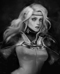 1girl bodysuit circlet claymore commentary dark_background eyelashes highres labret_piercing lips long_hair looking_at_viewer miawrly monochrome original parted_lips pauldrons piercing realistic silver_eyes solo teeth upper_body white_bodysuit white_hair