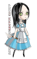 007_(pixiv295076) alice:_madness_returns alice_(wonderland) alice_in_wonderland american_mcgee's_alice bad_id black_hair dress english green_eyes knife long_hair simple_background