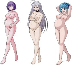3girls akashiya_moka areolae armpits blue_eyes blue_hair breasts brown_eyes collar crossed_arms feet grey_hair highres inner_moka kurono_kurumu large_breasts long_hair looking_at_viewer medium_breasts multiple_girls navel nipples nude pregnant purple_hair pussy red_eyes rosario+vampire santystuff shirayuki_mizore short_hair standing toes uncensored rating:Explicit score:16 user:Juni221