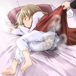 1girl aisaka_taiga barefoot bedwetting blanket brown_hair loli pajamas peeing peeing_self sleeping tagme wancho rating:Questionable score:54 user:zomgkitty