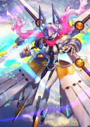 absurdres artoria_pendragon_(all) commentary_request fate/grand_order fate_(series) flying glowing glowing_eyes highres mecha mecha_musume mecha_on_girl mechanical_arm mechanical_boots mechanical_legs mechanical_parts mechanical_skirt mechanical_wings mysterious_heroine_xx_(foreigner) nkmr8 pink_scarf pointy_boots rhongomyniad scarf solo weapon wings