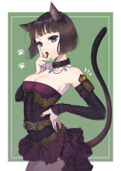 1girl absurdres animal_ear_fluff animal_ears arm_pouch bare_shoulders belt blue_eyes bob_cut breasts brown_hair cat_day cat_ears cat_girl cat_tail cleavage collar commentary corset detached_sleeves dress eyebrows_visible_through_hair fang finger_licking hand_on_hip highres karanashi_mari licking looking_at_viewer medium_breasts nail_polish original paw_print short_hair simple_background solo strapless strapless_dress tail tongue tongue_out twitter_username rating:Safe score:4 user:danbooru