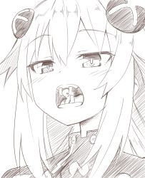 1boy 1girl giantess hair_ornament highres monochrome neptune_(series) niwaka_potato open_mouth purple_heart vore rating:Questionable score:9 user:Dweenie