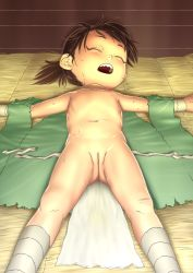 1girl bandage bandaged_leg bandages brown_hair dororo_(character) dororo_(tezuka) eyes_closed female flat_chest full_cleft gluteal_fold loli lying navel nipples nude ogu_(oguogu) on_back open_mouth outstretched_arms ponytail pussy sharp_teeth shiny shiny_skin sleeping solo spread_arms sweat teeth third-party_edit uncensored upper_teeth